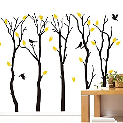 "Fymural Large 5 Poplar Trees Wall Stickers Art Mural Wallpaper for Kid Baby Nursery Livingroom Background Vinyl Removable DIY Decals 133.9x102.4"",Black: Kitchen & Dining"