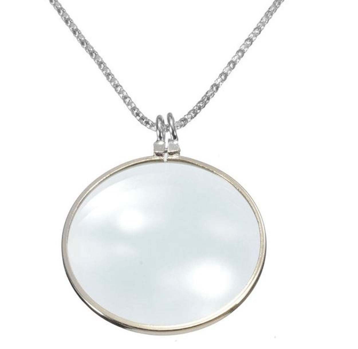 5X Silver Gold Magnifier Magnifying Glass Pendant Necklace (Silver)