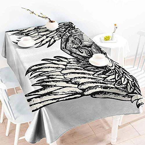- Homrkey Washable Table Cloth Fleur De Lis Decor Collection Tribal Tattoo Design with Wings Aged Arms Badge Crest Crown Eagle Black and White Washable Tablecloth W60 xL102