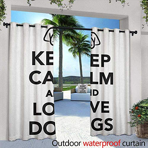 Keep Calm Indoor/Outdoor Curtains Popular Phrase for Animal Lovers with a Cute Dog Portrait Purebred Domestic Pet Insulated with Grommet Curtains for Bedroom 84