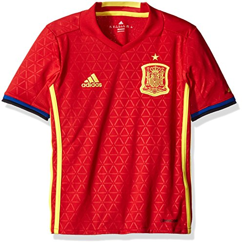 adidas Boys' Soccer Youth Spain Jersey, Scarlet/Bright Yellow, Small