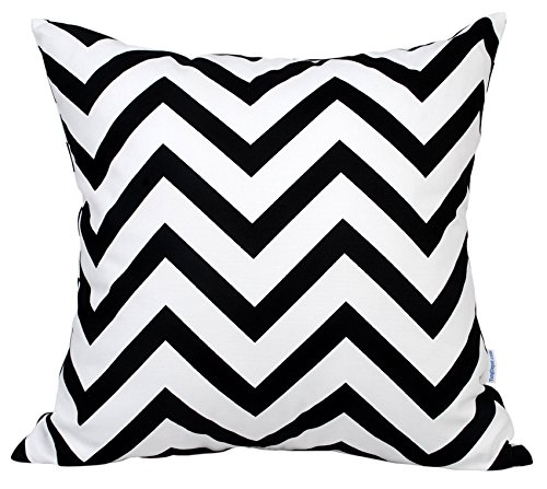 """TangDepot Decorative Handmade Zebra-Stripe/Wavy Line 100% Cotton Throw Pillow Covers/Pillow Shams, Many colors and sizes - (18""""x18"""", Black)"""