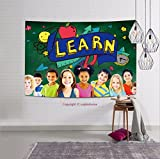 sophiehome-298182533 Kids School Education Learn Wisdom Young Concept tapestry wall hanging magical thinking tapestry 80W x 59L Inches