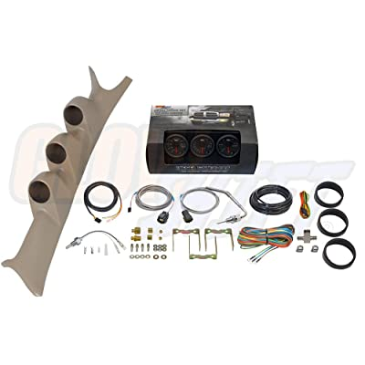 GlowShift Diesel Gauge Package for 1999-2007 Ford Super Duty F-250 F-350 6.0L 7.3L Power Stroke - Black 7 Color 60 PSI Boost, 1500 F Pyrometer EGT & Transmission Temp Gauges - Tan Triple Pillar Pod: Automotive