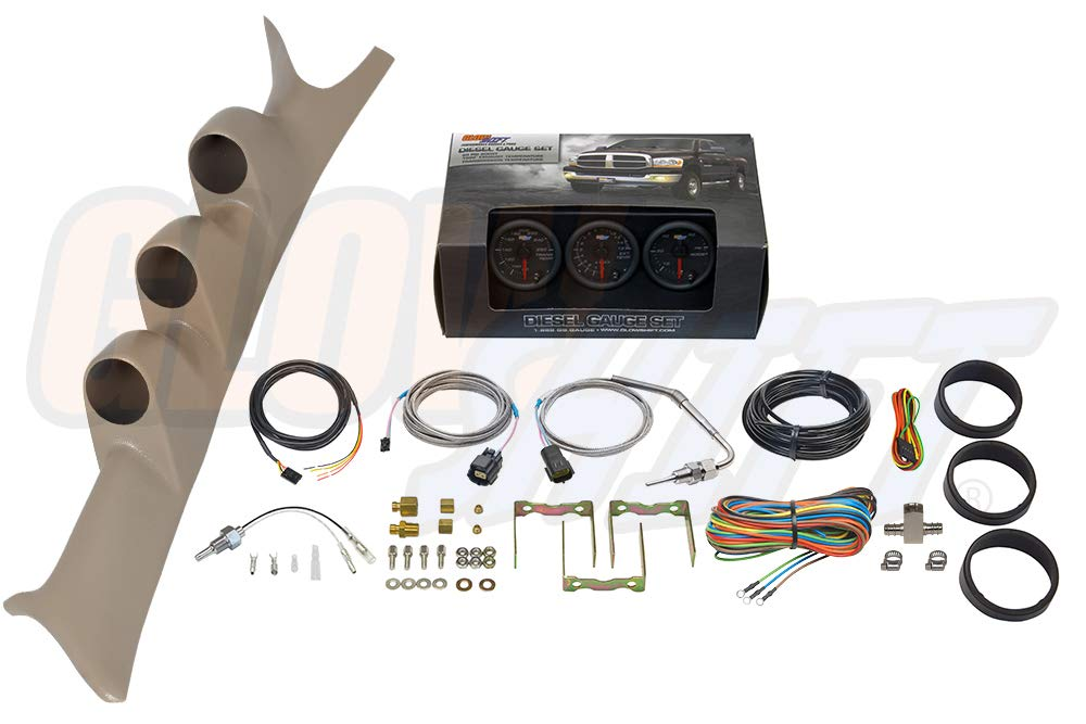 GlowShift Diesel Gauge Package for 1999-2007 Ford Super Duty F-250 F-350 6.0L 7.3L Power Stroke - Black 7 Color 60 PSI Boost, 1500 F Pyrometer EGT & Transmission Temp Gauges - Tan Triple Pillar Pod by GlowShift