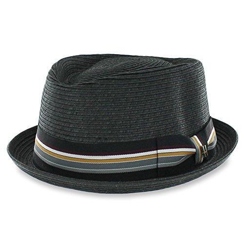 Belfry Striped Jazz - Men's Packable Summer Braided Straw Pork Pie Hat In 4 Sizes (Large)