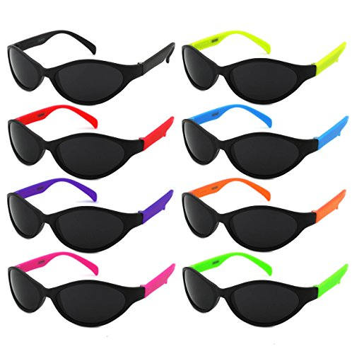 Edge I-Wear Kids 8 Pack Neon UV 400 Sunglasses CPSIA Certified Lead (Pb) Content Free(Made in ()