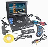 DVD Player Portable 9.8 3D EVD with USB Playback TFT Swivel Flip Screen Game + MP3 + Card Reader Support + 3D Support shopperzone™