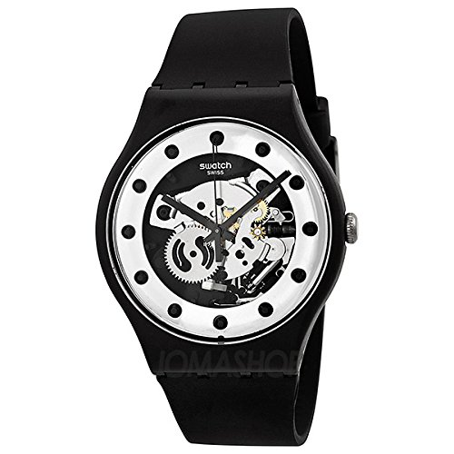 Swatch SReloj Originales Plata Glame Esqueleto Dial Negro silicona Mens Reloj SUOZ147: goldia: Amazon.es: Relojes