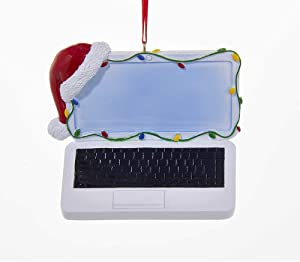 Kurt Adler Christmas Laptop With Santas Hat And Christmas Lights Ornament