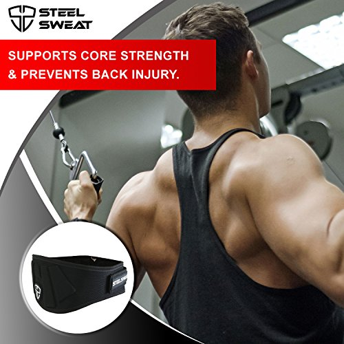 Steel Sweat Weight Lifting Belt Nylon 6 inch firm & comfortable back support, best for workouts at the gym, weightlifting or CrossFit. Easily adjustable