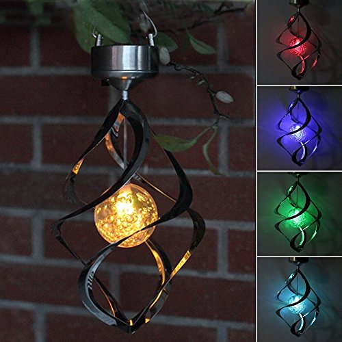 Lighten Glimmer Solar Powered Energy Saving Lamp LED Wind Chime Moving Rotating Colorful Color Changing Outdoor Stainless Spinner Hanging Spiral Garden Lawn Balcony Porch Window Decorative Light (Multi Position Hook)