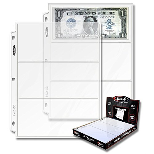 BCW PRO 3-POCKET CURRENCY PAGE (100 CT. BOX)
