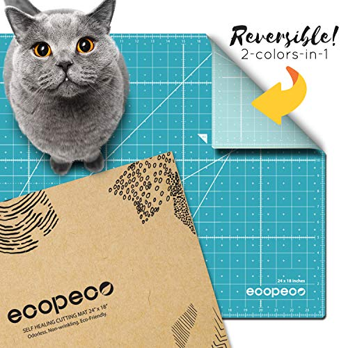 ecopeco 18″ x 24″ Self Healing Cutting Mat (Blue) | Double Sided Grid Board with No Smell, Non-Slip for Art, Craft, Sewing, Quilting, Model, Hobby | Great for Paper, Fabric, Vinyl & Plastic with Rotary Cutter, X-Acto Knife by Eco-Friendly Material