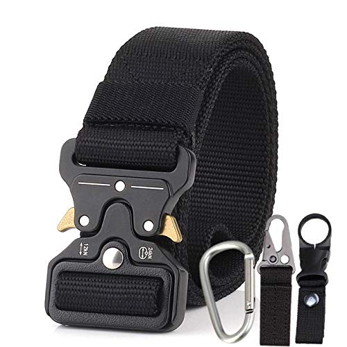 - Tactical Belt for Men, Military Nylon Belt with Heavy-Duty Quick-Release Metal Buckle, Web Belt with Gift Buckles (Black)