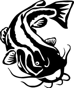 Flathead Catfish Wall Decal (Black   Reverse Facing   Large)   Freshwater  Fish Collection Part 77
