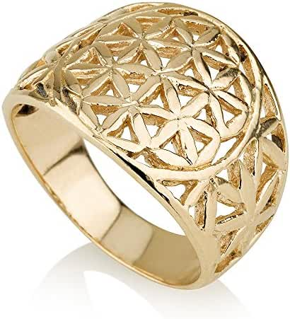 Flower of Life in Circle Ring 14k Gold Plated Sacred Geometry Seed of Life (Small) Yoga Jewelry