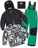 Deux par Deux Boys' 3-Piece Snowsuit Mechant Look Green, Sizes 5-14 - 6