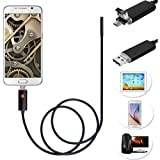 8mm USB/Android 2 in1 Endoscope, Ximandi Inspection CMOS HD Waterproof Borescope Camera Snake Camera with 6 Adjustable Led Lights,Black(2m 5m 10m) (5m)