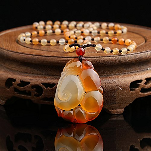 TKHNE Genuine natural ice kind chalcedony agate Qiao color Qiaodiao bamboo Lucky brave extra cash sweater necklace pendant necklace ()