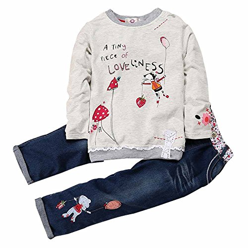 Little Girl's Long Sleeve Cartoon Pullover Shirt and Jeans Pants Outfit Set, Gray/Blue, 110