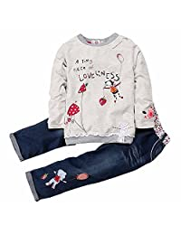 Kids Tales Little Girl Long Sleeve Cartoon Pullover Shirt Jeans Pants Outfit Set