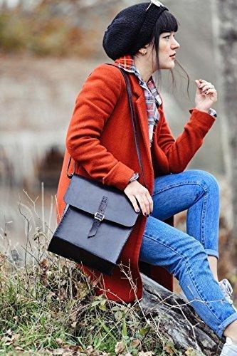 Black Leather Handmade Messenger Bag by AnyLeatherDesigns