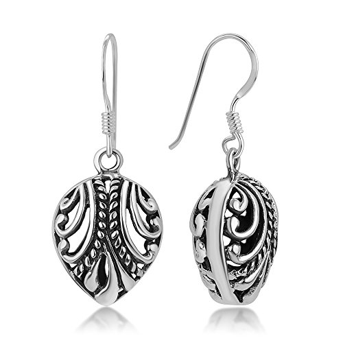 (925 Oxidized Sterling Silver Bali Inspired Open Filigree Puffed Rope Design Dangle Earrings 1.1