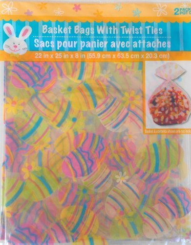 ((2) Pack of Easter Cellophane Basket Bags 22-in. X 25-in )