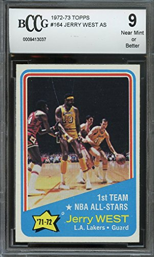 1972-73 topps #164 JERRY WEST AS w/wilt chamberlain lakers BGS BCCG 9 Graded Card