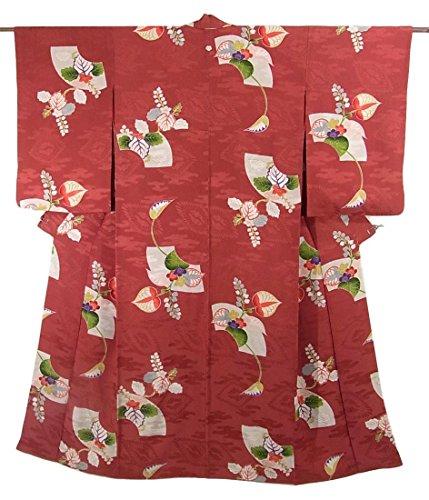 明らかにバスケットボールホップアンティーク 着物 綸子 地紙に桐や梅と葵文様 正絹 袷 裄62.5cm 身丈151cm