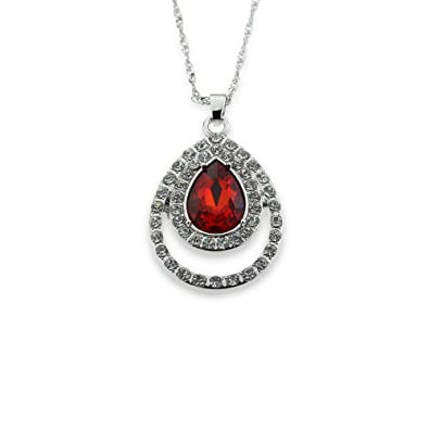 Amazon red birthstone pendant necklace lab created simulated red birthstone pendant necklace lab created simulated garnet or ruby silver chain aloadofball Gallery