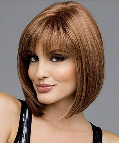 Hawkko Wigs For Women Short Bobo Straight Hair Nature Look Cosplay Daily Party Costume Full Wigs(Brown)