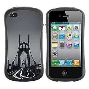 Fuerte Suave TPU GEL Caso Carcasa de Protección Funda para Apple Iphone 4 / 4S / Business Style Bridge Fog Photo Time Lapse