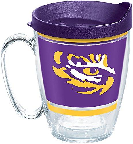 Ncaa Lsu Tigers Mugs - Tervis 1257537 NCAA Lsu Tigers Legend Coffee Mug with Lid, 16 oz, Clear
