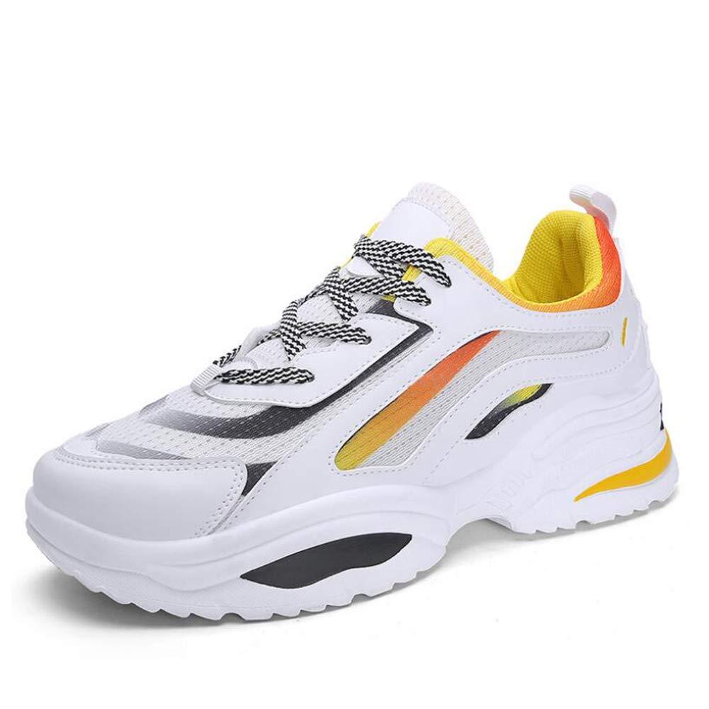 Herrenschuhe, Slip-Ons Lace-Up Turnschuhe, Walking Gym Schuhe, Outdoor-Wanderschuhe, Jogging Fitness Running Schuhe,WeißGelb,44