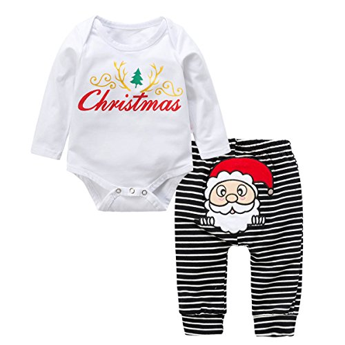 BOBORA Unisex Baby Christmas Outfit Long Sleeve Romper+Long Pants (S/3-6M/70, White) for $<!--$5.99-->