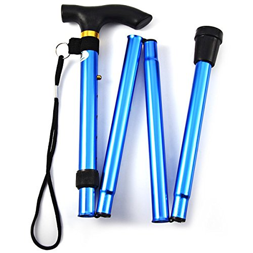 Folding Walking Stick, Adjustable Cane Aluminum Metal Collapsible Ergonomic Handle Lightweight Quick Locks Trail Poles with Non-Slip Rubber Base for Hiking Trekking Travel (Blue) by Wildmarely