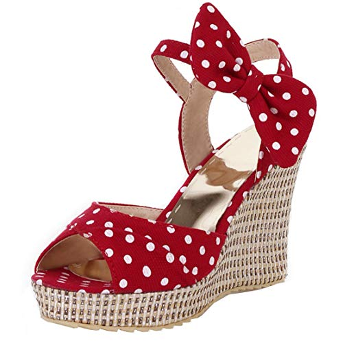 (KIKIVA Womens Polka Dot Sandals Wedges Heel Open Toe Ankle Strap Pumps with Bow,8.5 M US,Red)