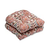 Pillow Perfect Outdoor/Indoor Crescent Beach Cayenne Wicker Seat Cushion (Set of 2)