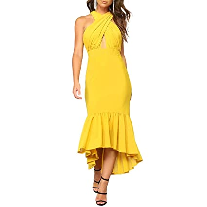 c66e5e78741 Amazon.com: Livoty Women's Sexy Irregular Ruffle Dresses Fishtail ...