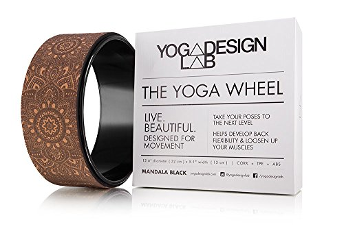 THE YOGA WHEEL by YOGA DESIGN LAB | Eco Printed, Extra Strength, Padded, Natural Cork Dharma Exercise Wheel | Designed in Bali | Enhance Your Postures and Stretch Deeper | 12.6 x 5.1