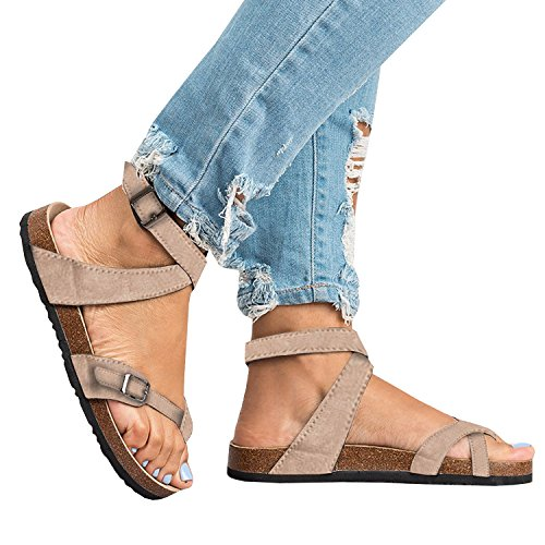 Womens Thong Flat Strappy Slip on Cork Sole Ankle Strap Flip Flops Gladiator Sandals Vintage Metal Leather Thong