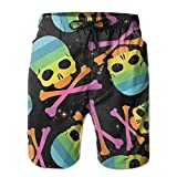 QWRa Rainbow Skull and Crossbones Gift Men Boardshort L Fashion Printing Beach Shorts Swim Trunks