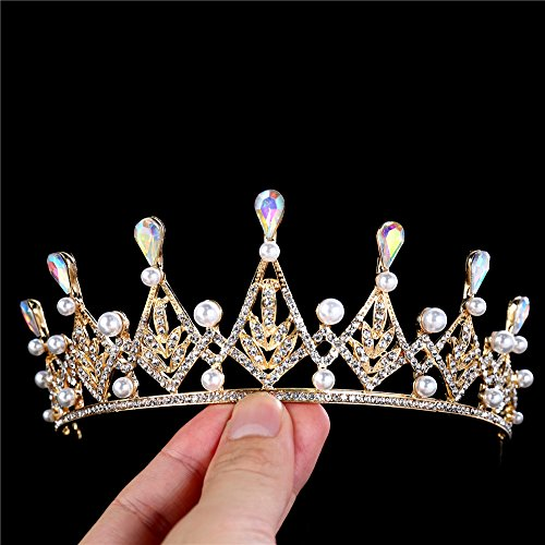 FANGZHIDI AB Rhinestone Tiara Gold Colorful Crystal Pearls Half Circle Crown Tiara for Girls Bridal Wedding Birthday Sweet Sixteen Party