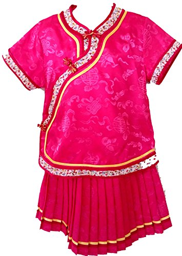 Little Girls' Chinese Dress Suit Outfit Uniform Costume (Hot Pink (Child Little Geisha Costumes)