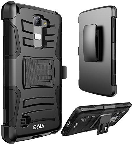E LV Case for LG G Stylo 2 Plus Case Belt Swivel Clip and Kickstand - Dual Layer Armor Holster Defender Full Body Protective Case Cover for LG G Stylo 2 Plus MS550 K530 K535 - [Black]