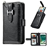 Zipper Wallet Leather Case,MeiLiio Multifunction Wallet Purse Case with Credit Card Slots Money Pocket Clutch Cover Retro Vintage Stand Billfold Pouch Magnetic Sleeve for iPhone X 5.8 inch (Black)
