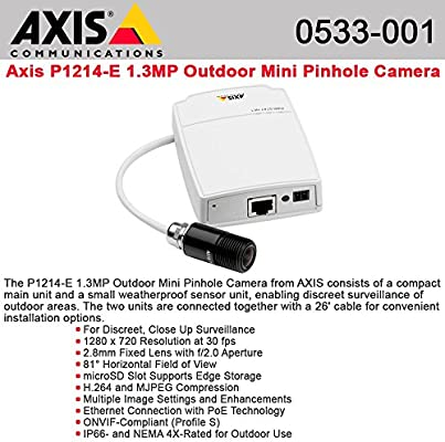 Axis 0533-001 Communications Mini HDTV Pinhole Outdoor Network Camera with 2.8 mm Lens White