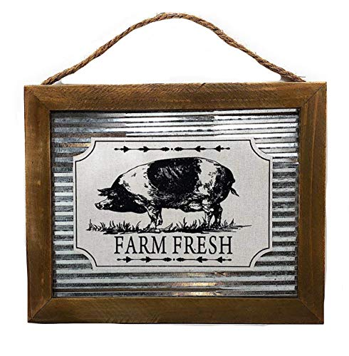 """D.I.D. Farmhouse Animals Country Style Home Garden Kitchen Decor Metal Wood Sign Plaque. 12"""" X 9.5"""" (Pig) from D.I.D."""